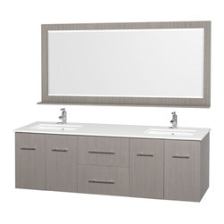 Wyndham - Centra Vanity Double 72in. in Grey Oak w/ White Stone Top & Square sinks - Simplicity and elegance combine in the perfect lines of the Centra vanity by the Wyndham Collection. If cutting-edge contemporary design is your style then the Centra vanity is for you - modern, chic and built to last a lifetime. Available with green glass, white carrera marble or pure white man-made stone counters, and featuring soft close door hinges and drawer glides, you'll never hear a noisy door again! The Centra comes with porcelain, marble or granite sinks and matching mirrors. Meticulously finished with brushed chrome hardware, the attention to detail on this beautiful vanity is second to none.