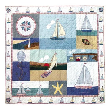 Patch Quilts - Nautical Twin Quilt - -Constructed of 100% Cotton  -Machine washable; gentle dry  -Made in India Patch Quilts - QTNAUT
