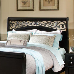 """Standard Furniture - Madera Sleigh Headboard - Features: -Inviting look through the combination of clean lines and simple adornments.-Made in the USA.-Ebony black finish.-Madera collection.-Gloss Finish: No.-Solid Wood Construction: No.-Upholstered: No.-Powder Coated Finish: No.-Non Toxic: Yes.-Scratch Resistant: No.-Lighting Included: No.-Wall Mounted: No.-Reversible: No.-Media Outlet Hole: No.-Built In Outlets: No.-Adjustable Shelves: No.-Finished Back: No.-Distressed: No.-Hidden Storage: No.-Freestanding: No.-Frame Required: Yes.-Frame Included: No.-Drill Holes for Frame: Yes.-Swatch Available: No.-Eco-Friendly: Yes.-Commercial Use: Yes.-Recycled Content: No.Specifications: -EPP Compliant: Yes.-CPSIA or CPSC Compliant: Yes.-CARB Compliant: Yes.-JPMA Certified: No.-ASTM Certified: No.-ISTA 3A Certified: No.-PEFC Certified: No.-Green Guard Certified (Green Guard Certified) : No.Dimensions: -Overall Height - Top to Bottom (Size: Queen, King): 55"""".-Overall Width - Side to Side (Size: Queen): 63"""".-Overall Width - Side to Side (Size: King): 79"""".-Overall Depth - Front to Back (Size: Queen, King): 5""""."""