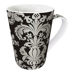 Konitz - Konitz Rocaille Mugs (Set of 4) - At Konitz, everything revolves around mugs. These 'rocaille' mugs come in a set of four and feature a silver rocaille pattern across the exterior and within the interior of the mug.