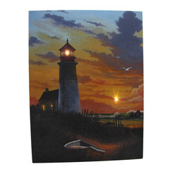 Zeckos - Lighthouse at Sunset LED Accent Printed Canvas Wall Hanging - This beautiful printed canvas features an image of a lighthouse at sunset, and has perfectly placed LED lights to bring it to life. It measures 16 inches tall, 12 inches wide, and has 2 hanging slots cut into the wooden frame so it easily mounts to any wall. The lights are powered by 2 AA batteries (not included), are controlled by an inconspicuous on/off switch on the side of the canvas, and unsightly wires are concealed and contained by the vinyl backing. This piece is a lovely accent in rooms with a beach or nautical theme, and makes a wonderful gift for a friend.