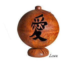 "Ohio Flame - Live, Laugh, Love Fire Globe, 41 Inch Diameter - Dimensions: 30"" in Diameter x 64""H, 125 lbs; .156 inch thickness"