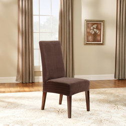 Sure Fit - Sure Fit Stretch Pinstripe Short Dining Room Chair Cover - 37384 - Shop for Chair and Slip Covers from Hayneedle.com! The Stretch cover is a one-piece cover made from a soft poly/cotton blend and spandex material. Its stretching qualities offer a clean tailored look for both box and T-cushion style furniture. It features an adjustable arm width and inner pleats to minimize tucking.About Sure FitSurefit Inc. is widely known for its attractive quality furniture covers slipcovers and decorative accessories. The success of their ready-made furniture slipcovers and accessories is based on extensive experience providing cost-effective decorative solutions made to fit in a broad range of styles to meet the needs of all customers. Sure Fit's furniture slipcover product line includes slipcovers for sofas loveseats chairs oversized chairs wing chairs dining room chairs recliners ottomans and folding chairs as well as furniture and pet throws. Sure Fit also sells coordinating decorative pillows. Sure Fit is dedicated to quality product with rigorous durability and performance standards that are second to none. Many patterns feature dual-action Scotchgard Protector to repel and release stains. Home of the Ten Minute Makeover Sure Fit provides an attractive and affordable solution for consumers who need to protect furniture from children pets and general wear or want to quickly and cost-effectively upgrade their furniture and enhance the appearance of any room.Please note this product does not ship to Pennsylvania.