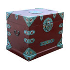 Golden Lotus - Chinese Blue Cloisonné Hardware Accent Red Trunk - This is a decorative piece wood trunk inset with old hand made blue color metal cloisonne hardware around the body. Its rarity value  and decent craftsmanship on each piece of hardware makes it worth for generation to generation.