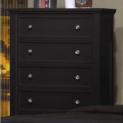 Coaster - Sandy Beach 5 Drawer Chest - The Sandy Beach collection is crafted with tropical hardwoods and veneers in a rich black finish. Organizing is made easy with case pieces that feature multiple drawers for plenty of storage. The clean and straight lines enhance the modern look of this group.