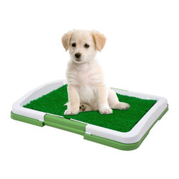 Trademark Global - Paw Puppy Potty Trainer - Included locking tray. Plastic insert which allows the liquid to drain. Durable collection tray. Perfect for patios and indoor use. Mat is made of an antimicrobial and odor resistant artificial turf. No assembly required. 18.5 in. L x 13.4 in. W x 2.17 in. H (3 lbs.)This mat and tray system gives dogs a place to relieve themselves when they can't go outside! The ingenious mat is odor resistant artificial turf that gives off an organic scent, attracting dogs so they can be taught quickly that it is an acceptable spot for relief. Great when your pet cant go outside. So easy to clean, just rinse with soapy water.
