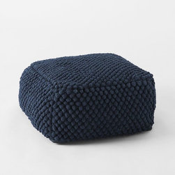 Bubble Knit Pouf, Regal Blue - This square Bubble Knit pouf is on the shorter and has fun details. I like the strong navy blue color.