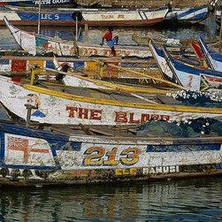 Magic Murals - Colorful Fishing Boats in Ghana Wallpaper Wall Mural - Self-Adhesive - Multiple - Colorful Fishing Boats in Ghana Wall Mural