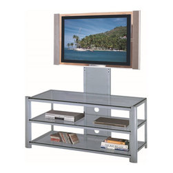 Lite Source - Lite Source Burly 3-Tier TV Stand X-VLIS2165-HSL - Featuring an adjustable screen frame (accommodates a TV up to 42 inches) and three tiers, this functional Lite Source TV stand is also extremely stylish. From the Burly Collection, this contemporary TV stand features a combination of metal and glass construction, which adds to the appeal of this modern design.