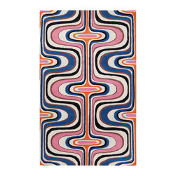 Surya - Tepper Jackson Hand-tufted Contemporary Multi Colored Swirl Dreamscape Wool Abst - Hand tufted in wool, this beautiful rugs features vibrant colors of winter white, jet black, russe, orange, azalea pink, ultramarine, with a contemporary style and a plush pile.