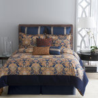None - Modern Living Kensington 4-piece Comforter Set and Optional Euro Sham Separate - The Kensington traditional motif styled with rich colors gives this bed an elegant yet royal appeal. Displaying a beautiful damask design, the pattern has been colored in navy blue with accents of golds and browns.