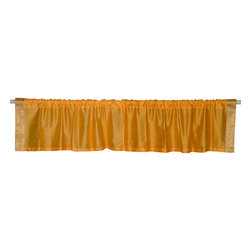 Indian Selections - Pair of Mustard Rod Pocket Top It Off Handmade Sari Valance, 43 X 20 In. - Size of each Valance: 43 Inches wide X 20 Inches drop