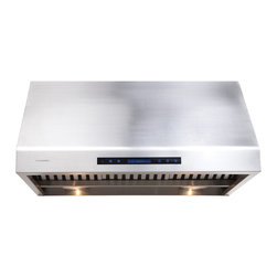 "Cavaliere - Cavaliere-Euro AP238-PS81-30 30; Under Cabinet  Range Hood - Mount Type: Under Cabinet / WallMounted. Venting: 8"""" round duct vent exhaust. Airflow at Max: 1000 CFM. Lighting: 2 x 20w Halogen Lights, 2 Heating Lamps (light bulbs not included). Noise Level: 1.4Sone(45dB) / 3.5Sone(58dB) / 7.0Sone(68dB) / 8.0Sone(70dB). Voltage: 120v @ 60 Hz standard USA & Canada. Motor: 360 W Dual Chamber Ultra Quiet. Speeds: 4 Speeds with TIMER function. Keypad Type: Touch Sensitive with Blue LED lighting. Filters: Dishwasher safe Stainless steel baffle filters. Material: Heavy duty 19 gauge brushed finish stainless steel. Features: Credit Card Sized Remote Control, Unique Heat Sensitive Auto Speed function. Warranty: 1 year parts from the Manufacturer"