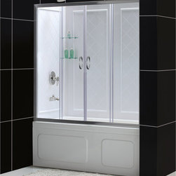 BathAuthority LLC dba Dreamline - Visions Frameless Sliding Tub Door & QWALL-Tub Backwalls Kit - Choose the VISIONS™ Tub Door and Backwall Kit from DreamLine™, an efficient and beautiful solution for a bathroom remodeling project. The VISIONS shower door has two stationary glass panels and two sliding glass panels that open to create an ample center point of entry. The wall panels are made from durable and attractive Acrylic/ABS materials, have a tile pattern and are easy to install with a trim-to-size fit. DreamLine kits deliver a complete transformation for a bath tub space.