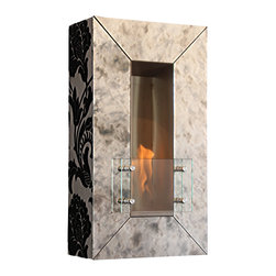 Terra Flame - Vintage Aged Mirror Wall Fireplace, Ebony Finish - Mix one part mirror, one part wall sconce, stir in a crackling fire and you have this wholly unique hanging fireplace. The flocked ebony sides and burnished mirror front impart subtle style, while the clean-burning fuel offers practicality and ease of use. All together it's a one-of-a-kind recipe for eye-catching interest. Made to order.