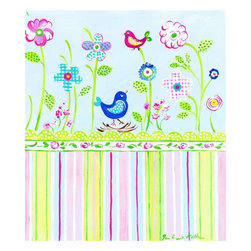 Stupell Industries - Birds with Flowers and Stripe Rectangle Wall Plaque - Made in USA. MDF Fiberboard. Hand finished and packed. Approx. 15 in. W x 11 in. L. 0.5 in. ThickThe Kids Room by Stupell features exceptional handcrafted wall decor for children of all ages.  Using original art designed by in-house artists, all pieces feature hand painted and grooved borders as well as colorful grosgrain ribbon for hanging.  Made in the USA, everything found in The Kids Room by Stupell exudes extraordinary detail with crisp vibrant color. Whether you are looking for one piece to match an existing room's theme, or looking for a series to bring the kid's room to life, you will most definitely find what you are looking for in The Kids Room by Stupell.