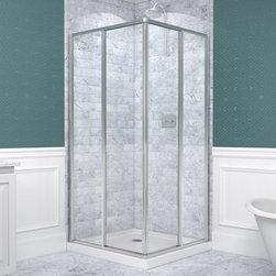 "DreamLine - DreamLine DL-6710-01 Cornerview Shower Enclosure & Base - DreamLine Cornerview Framed Sliding Shower Enclosure and SlimLine 36"" by 36"" Double Threshold Shower Base"