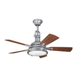 "Kichler - 44"" Hatteras Bay Patio 44"" Ceiling Fan Galvanized Steel - Kichler 44"" Hatteras Bay Patio Model KL-310101GST in Galvanized Steel with Reversible ABS Outdoor Cherry/Medium Walnut Finished Blades."