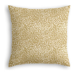 Tan Leopard Print Custom Throw Pillow - The every-style accent pillow: this Simple Throw Pillow works in any space.  Perfectly cut to be extra fluffy, you'll not only love admiring it from afar but snuggling up to it too!  We love it in this tan & white woven leopard animal print.  welcome to the jungle!