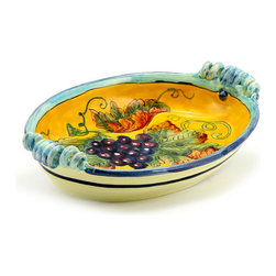 Artistica - Hand Made in Italy - UVA FONDO GIALLO: Oval Tray/Centerpiece with coiled handles - UVA FONDO GIALLO: With its gorgeous Tuscan Yellow background, this all new collection feature products depicting grapes and foliage.