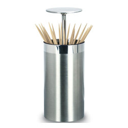 Cuisinox - Pop-Up Toothpick Holder - Amaze your guests with this remarkable automatic pop-up toothpick holder in a sleek brushed stainless steel. By simply pushing down once on the top lid, the lid pops up and fans toothpicks for easy reach. Push the lid back down and toothpicks retract, lid closes shut, and toothpicks are hygienically stored without toothpicks ever being exposed. This makes an ideal gift.