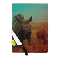 """Kess InHouse - Danny Ivan """"Abstract Rhino"""" Cutting Board (11.5"""" x 15.75"""") - These sturdy tempered glass cutting boards will make everything you chop look like a Dutch painting. Perfect the art of cooking with your KESS InHouse unique art cutting board. Go for patterns or painted, either way this non-skid, dishwasher safe cutting board is perfect for preparing any artistic dinner or serving. Cut, chop, serve or frame, all of these unique cutting boards are gorgeous."""