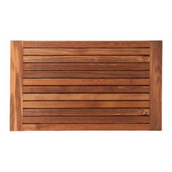 "Teakworks4u - Plantation Teak Mat with Side Edges Finished (30"" x 18"") - Naturally mold and mildew proof due to its high oil content, this bath mat will serve you in style for years to come. The inherent beauty of teak is sure to complement your bathroom accessories and create a perfect decorative accent. Naturally high silica content makes this piece incredibly slip resistant. Crafted with quality wood, countersunk screws and rubber footing to protect your floors, this teak mat is nothing short of an investment. Proudly made in the U.S.A."