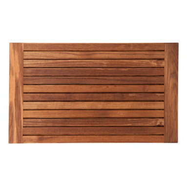"""Teakworks4u - Plantation Teak Mat with Side Edges Finished (30"""" x 18"""") - Naturally mold and mildew proof due to its high oil content, this bath mat will serve you in style for years to come. The inherent beauty of teak is sure to complement your bathroom accessories and create a perfect decorative accent. Naturally high silica content makes this piece incredibly slip resistant. Crafted with quality wood, countersunk screws and rubber footing to protect your floors, this teak mat is nothing short of an investment. Proudly made in the U.S.A."""