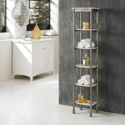 Home Styles The Orleans 6 Tier Tower - The Home Styles The Orleans 6 Tier Tower provides an elegant, space-saving way to store or display your linens, towels, and toiletries. Featuring a stunning minimalist design, this charming piece is supported by a beautiful powder-coated steel frame. Six marble-laminated shelf tiers are built into the frame, providing plenty of room for full- and half-bathrooms alike. This handsome tower features classical French/Creole country elements while utilizing the finest modern materials.About Home StylesHome Styles is a manufacturer and distributor of RTA (ready to assemble) furniture perfectly suited to today's lifestyles. Blending attractive design with modern functionality, their furniture collections span many styles from timeless traditional to cutting-edge contemporary. The great difference between Home Styles and many other RTA furniture manufacturers is that Home Styles pieces feature hardwood construction and quality hardware that stand up to years of use. When shopping for convenient, durable items for the home, look to Home Styles. You'll appreciate the value.
