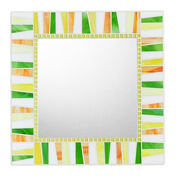 "Opus Mosaics - Citrus Stained Glass Mosaic Mirror - Handmade, 18"" X 18"" - MIRROR DESCRIPTION"