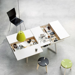 Flip Spisebord Table - These compartments slide out and flip open to keep your desk surface neat and tidy - what a brilliant concept!
