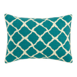 "Jane Wilner Designs - Jane Wilner Designs Teal Trellis Pillow, 16"" x 22"" - Malabar bed linens from Jane Wilner Designs feature eye-catching patterns, pops of color, and ribbon appliques for dimension. Made in the USA of imported and domestic fabrics. Dry clean. Dust skirts and square pillow with stripe/brown pattern are cot..."