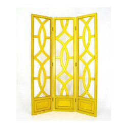 Wayborn - Charleston 3 Panel Room Divider in Yellow - Yellow Finish. 3 Panels with open cut out design. Room divider does not have fabric. Made from solid Basswood. Antiqued with a smooth finish. 54 in. W x 76 in. H (63 lbs.)
