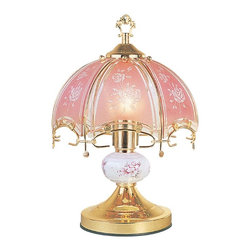 ORE International - 14.25 in. Touch Lamp w Artistic Floral Scene - Requires 40W bulb (bulb not included). 3 Way touch sensor control. Floral design. Low, medium, high and off paces. Polarized plug for added safety. Made from glass and metal. Brushed Gold base. 30 Days warranty. 9 in. Dia. x 14.25 in. H (4 lbs.)Adjust the light you need with just a touch of your hand. No more trying to find the switch in a dark room, this lamp is always ready for your touch. Simply touch any metal surface and you will put this lamp through its paces. Use a single level light bulb, no need to use a 3-way bulb.