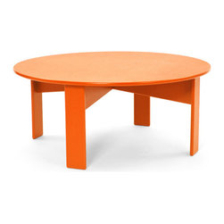 Loll Designs - Lollygagger Coffee Table Round, Sunset Orange - The Lollygagger Coffee Table works as a Cocktail Table too; and what's the difference anyway? When you're settling back in your Lollygagger lounge this table will hold your favorite patio accessories, a happy little plant, and even your bare feet. Available in round or rectangle it's sure to accommodate that negative space between you and your friends.