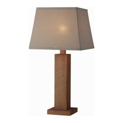 Kenroy - Kenroy-32399TK-Cody - One Light Outdoor Table Lamp - Teak finished outdoor lamps are sure to fit your outdoor decor perfectly,  A full scale square lamp sitting at 29 inches in height. This outdoor rated lamp is topped with Taupe solution dyed acrylic shade, and is real wood finished to look like teak. This warm look is perfect for cool nights!