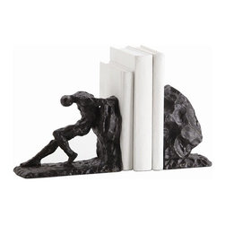Arteriors - Jacque Bookends, Set of 2 - Reflect on life's struggles with these poignant and impressive bookends. Made of cast iron, they afford a simple, stylish way to wear your philosophical sensitivity on your sleeve — and your shelf.