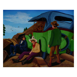 Resting At The Summit, Original, Painting - Three young adventurers are having a rest after climbing their Model T Ford to the top of a mountain. This painting was done on durable canvas paper and is 40X50 cms or 16X20 inches and is coated with a clear varnish to protect the surface from dust and sunlight.
