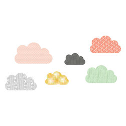 the lovely wall co. - Geo Clouds Wall Decal, Coral Mustard Mint - Girls - Geo Clouds - Wall Decal
