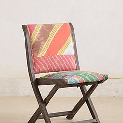 """Anthropologie - Overdyed Terai Chair - Intended for indoor useSheesham wood frameCotton upholstery; polyfillSpot clean33""""H, 18""""W, 18""""DSeat: 17""""H Imported"""