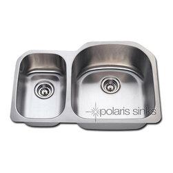 Polaris - Polaris PR1213 Undermount Reverse Offset Stainless Steel Kitchen Sink - Polaris PR1213 Undermount Reverse Offset Stainless Steel Sink