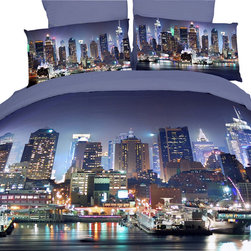 Dolce Mela - Luxury Duvet Covet Set City Themed Dolce Mela DM457, King - Decorate your bedroom with this nice night view of Manhattan and hear Frank Sinatra singing: {Start spreading the news, I'm leaving today, I want to be a part of it - New York, New York .  . }