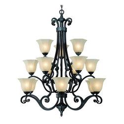 Dolan Designs - Dolan Designs 773-34 Winston Olde World Iron 15 Light Chandelier - Dolan Designs 773-34 Bronze Ceiling Lighting