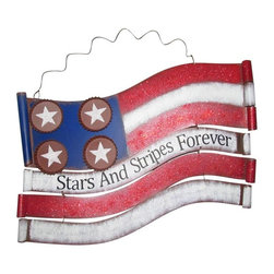 Alpine - American Flag Metal Wall Decor - 18 inch - Features:Dimensions: