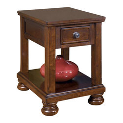 Signature Design by Ashley - Chairside End Table w Drawer - Made with select cherry veneers and hardwood solids. Burnished brown finish. Drawers on select tables have a dark bronze color knob and backplate. Sofa table features drop down drawer fronts for media storage. 19 in. L x 26 in. W x 26 in. H (58.3 lbs)