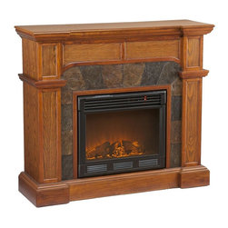 Holly & Martin - Cartwright Electric Fireplace - Mission Oak finish. Eco-friendly. Ventless. Sleek columns on either side. Crown molding. Remote control requires two AAA batteries. Realistic flickering flame effect. Long life LED lights. 120V-60Hz, 1500W / 5000 BTUs, 12.5 Amp. Easy to use adjustable thermostat. Safety thermal overload protector. Adjustable flame brightness control. Plugs into standard wall outlet with 6 ft. cord. Tested to heat 1500 cubic feet in only 24 minutes. Uses about the same energy as coffee maker. 100% energy efficient with low operating costs. Produces zero emissions and pollutants. No combustion glass remains cool to touch. Mantel supports upto 85 lbs.. Accommodates upto 47 in. flat screen TV. Made from poplar, resin, veneer, MDF, metal and glass. Assembly required. Firebox front: 23 in. Wide x 20 in. H. Corner: 45.5 in. W x 26.5 in. D x 40.25 in. H (116 lbs.). Flat wall: 45.5 in. W x 15.5 in. D x 40.25 in. H (116 lbs.)Natural earth tone colors enhance this alluring mission oak fireplace. This particular fireplace is designed with the capability of fitting against a flat wall or in a corner with ease. Requiring no electrician or contractor for installation allows instant remodeling without the usual mess or expense. In addition to your living room or bedroom, try moving this fireplace to your dining room for a romantic dinner or complement you media room with a ventless fireplace below your flat screen television. Use this great functional fireplace to make your home a more welcoming environment.