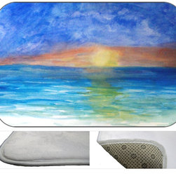 Sunset Beach Bath Mat, 20X15 - Bath mats from my original art and designs. Super soft plush fabric with a non skid backing. Eco friendly water base dyes that will not fade or alter the texture of the fabric. Washable 100 % polyester and mold resistant. Great for the bath room or anywhere in the home. At  1/2 inch thick our mats are softer and more plush than the typical comfort mats.Your toes will love you.