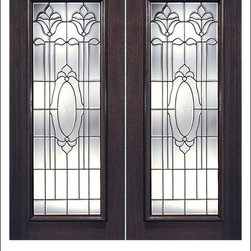 Exterior and Interior Beveled Glass Doors Model # K - Our Beveled Glass Doors are made of individually hand cut glass put together with metal caming.  Doors triple glazed (three pieces of glass) for insulation and they are easy to clean with a smooth surface.  Doors are available in a variety of sizes and styles. The door is constructed from FSC Brazilian Mahogany.  Interior versions of these doors are available in our Decorative Glass Doors under the interior doors category.