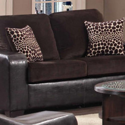 Chelsea Home - Kappa Upholstered Loveseat - Includes toss pillows. Transitional style. Medium seating comfort. Jefferson chocolate and explosion coffee cover. Eight gauge sinuous wire springs are used to maintain comfortable seating. 1.5 high density foam with 4 in. cores and 1.5 in. fiber wrap cushions. Corner blocks frame for more strength and durability. 100% PU and 100% polyester velvet upholstery. Solid kiln dried hard woods and engineered wood frame. Made in U.S.A. No assembly required. 69 in. L x 39 in. W x 38 in. H (125 lbs.)