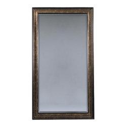 Bassett Mirror - Beveled Rectangular Floor Mirror in Brown & G - Rectangle shape. Decorative mirror. 45 in. L x 85 in. H (80 lbs.)